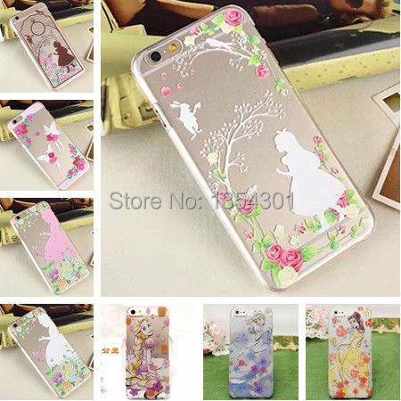Transparent Princess Girl Ariel Rapunzel Cinderella Belle Cover Cases Apple iPhone 6 Hard & Soft Case Shell Skin iphone6 - IRS Trading Co.,Ltd store