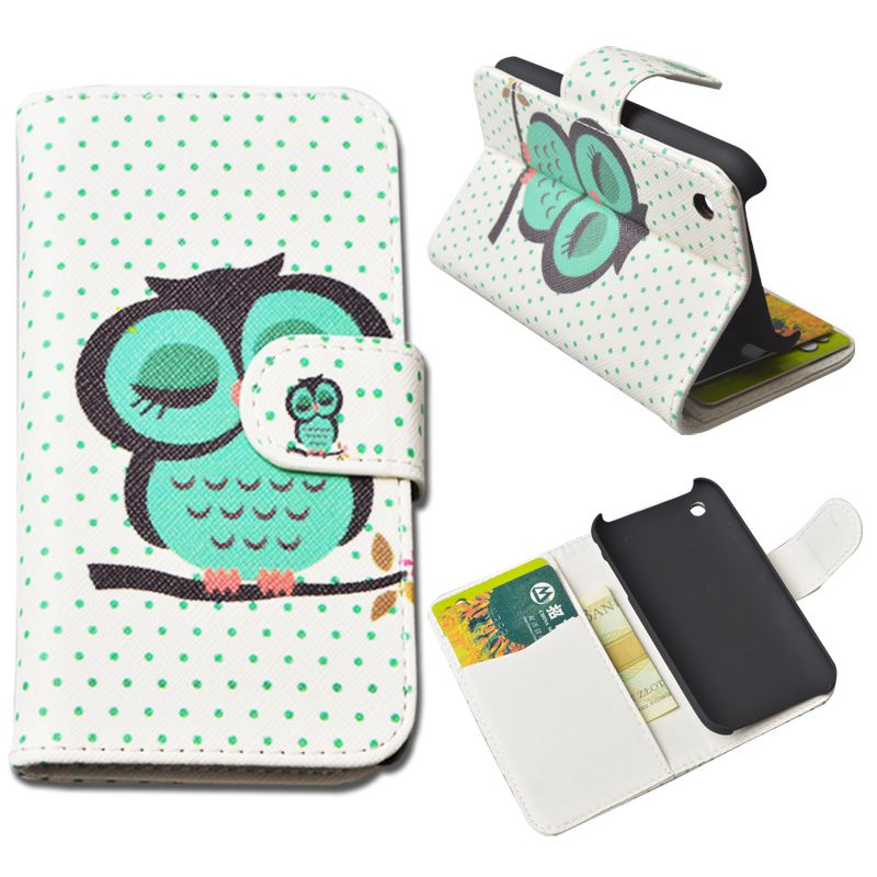 Leather Cover Apple IPhone 3 3G 3GS Wallet Stand Card Holder flip case iphone phone bag & Printing Cartoon - ShenZhen J&R Technology Co.,Ltd. store