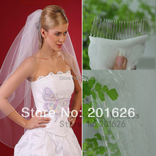 New Arrival Tulle Sequined Comb Wedding Accessory wholesale 2014 A Bridal veil(China (Mainland))