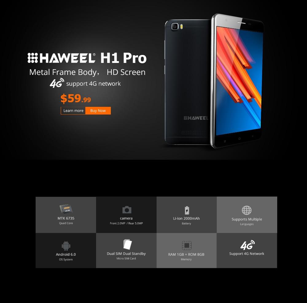HAWEEL H1 Pro / H1 China Brand Phone Android 5.1 MTK6580 Quad Core 3G WCDMA GSM Dual SIM 5.0 inch FW+IPS 2300mAh Smartphone(China (Mainland))