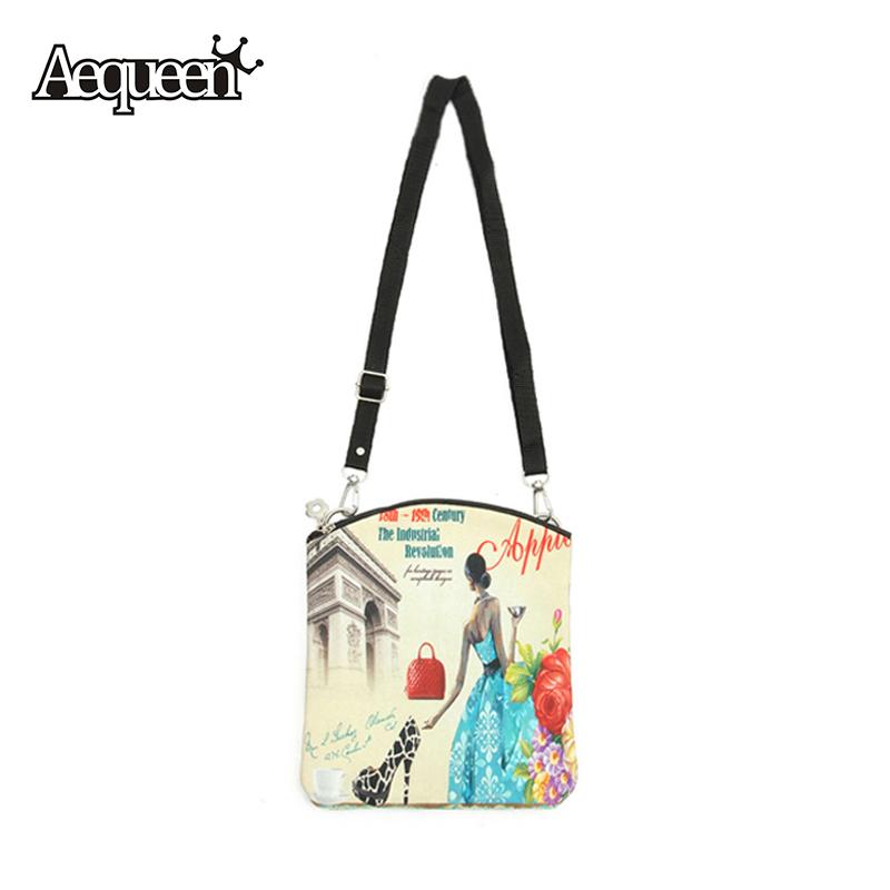 New Women Messenger Bags Vintage Canvas Printing Small Satchel Shoulder European Style Girls Handbag Lady Bolsa Crossbody Bag(China (Mainland))