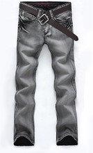 Man's Popular Jeans 2016 Regular Water-washed High Quality Light Grey Plus Size 28-38 For Male Popular For Male 119(China (Mainland))