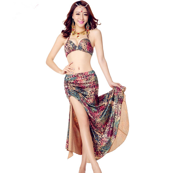 2-Piece Sexy Neopard Belly Dance Costume Set Peacock Bellydance Practice Clothing India Bollywood Dress Green XL Free Shipping(China (Mainland))