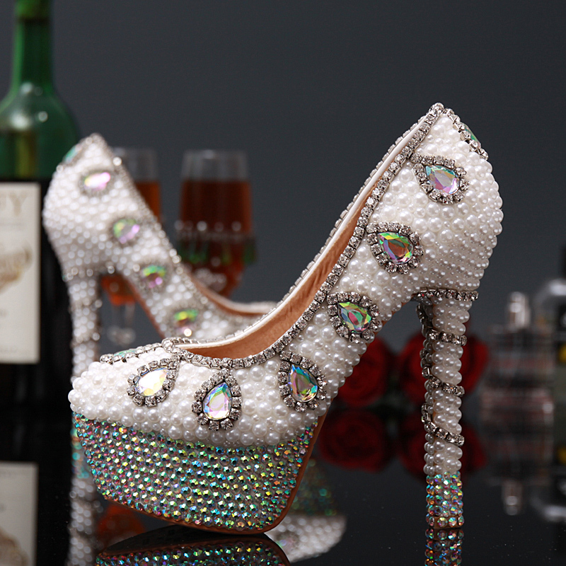 2015 New Arrival Rhinestones Pearls Bridal Wedding Shoes Diamond Bling Women Platform High Heels Sexy Evening Party Dress Pumps<br><br>Aliexpress
