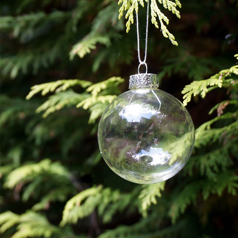 Christmas glass balls clear baubles ornaments decorations for Outside house ornaments