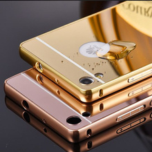 For Huawei Ascend P7 Case Luxury Mirror Ultrathin Metal Aluminum+Acrylic Hard Back Phone Cover Accessory Shockproof Armor Funda