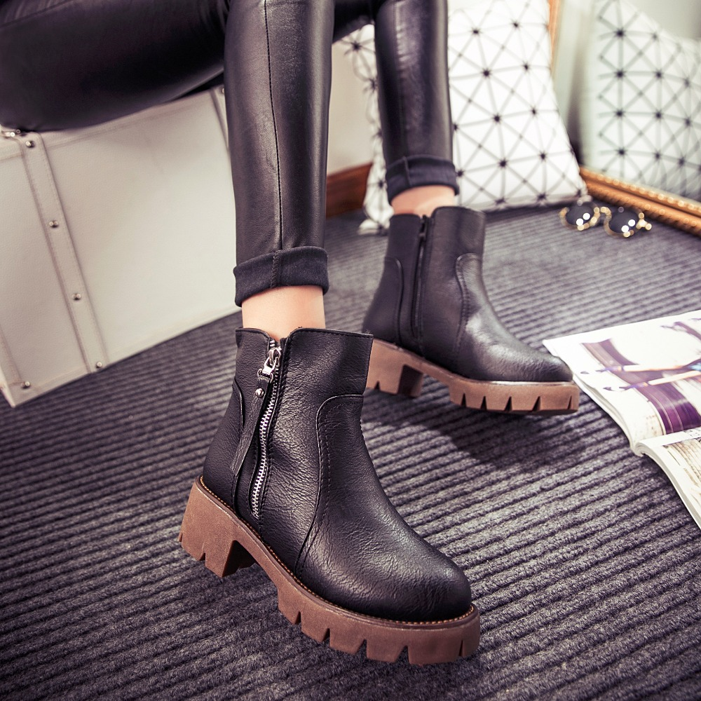 Autumn and winter women shoes vintage fashion ankle boots women boots thick heel leather boots female side zipper shoes(China (Mainland))