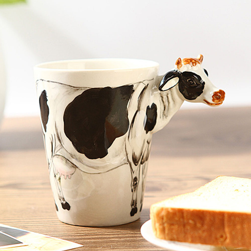 Lifelike Animals Hand-Painted Ceramic Cups Novelty Coffee Mug Cow Pattern Water Cup Free Shipping(China (Mainland))