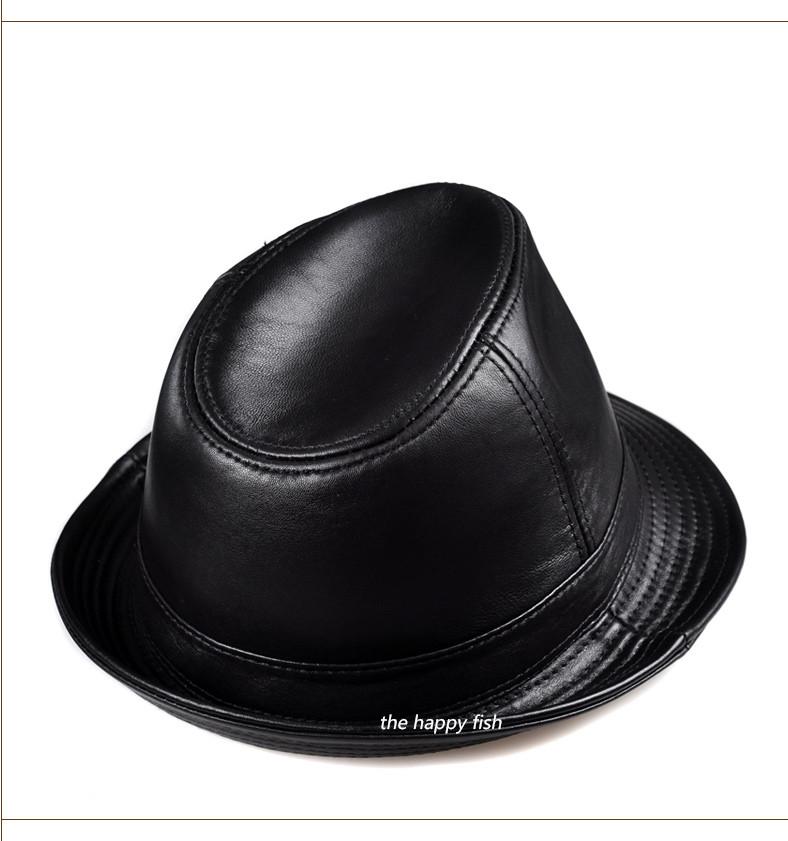 men fedora Trilby hat Black Leather Fedora Hat for men chapeau homme vintage jazz hats for men chapeu fedora (10)
