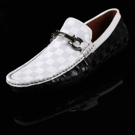 2014 spring and summer breathable male casual leather genuine leather male shoes the trend of black and white flat shoes fashion<br>