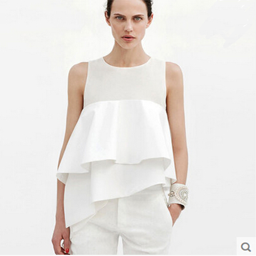 2016 Women White Sleeveless Chiffon Ruffle Blouse Ladies Summer Fashion Irregular Loose Tops Vestidos O-neck Shirt Dresses(China (Mainland))