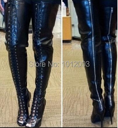 black lace up thigh high boots peep toe cutouts