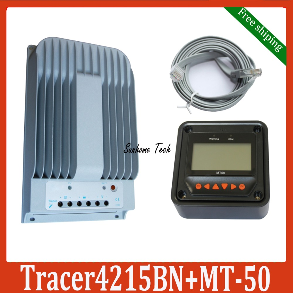 40A 12V 24V New Tracer 4215BN Programmable MPPT Solar Charge Controller with MT50 LCD display Remote meter free shipping(China (Mainland))