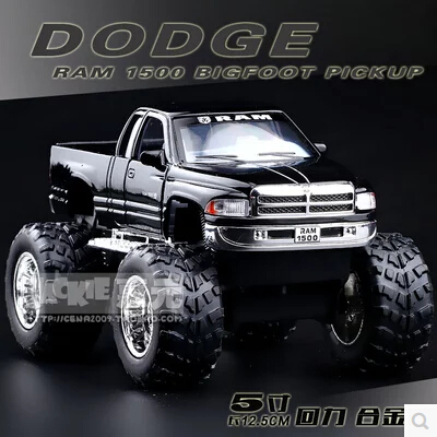 Dodge RAM 1500 Big foot pickup KINSMART Toy kids pull back gift SUV truck alloy car model 1/44 Modified cars limit(China (Mainland))