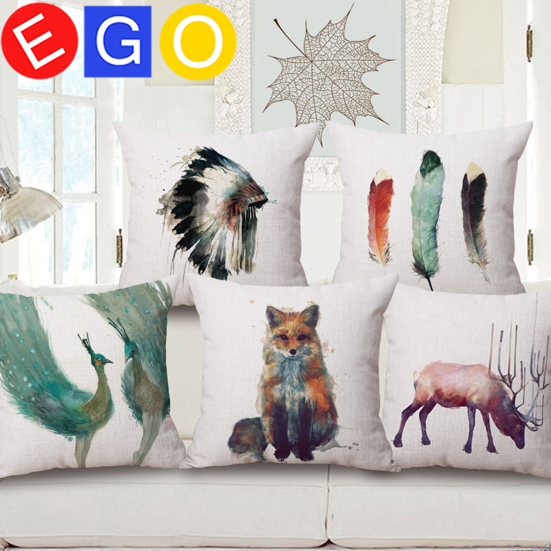 New Ethnic American Indian feather Art Style youtube decorative hot sale linen cotton Pillowslip pillow cases pillowcase home(China (Mainland))
