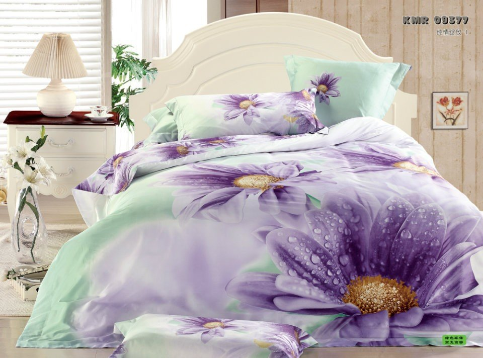 Hot Fashion New Beautiful 100% Cotton 4pc Doona Duvet QUILT Cover Set bedding set Queen / King size PURPLE FLOWER(China (Mainland))
