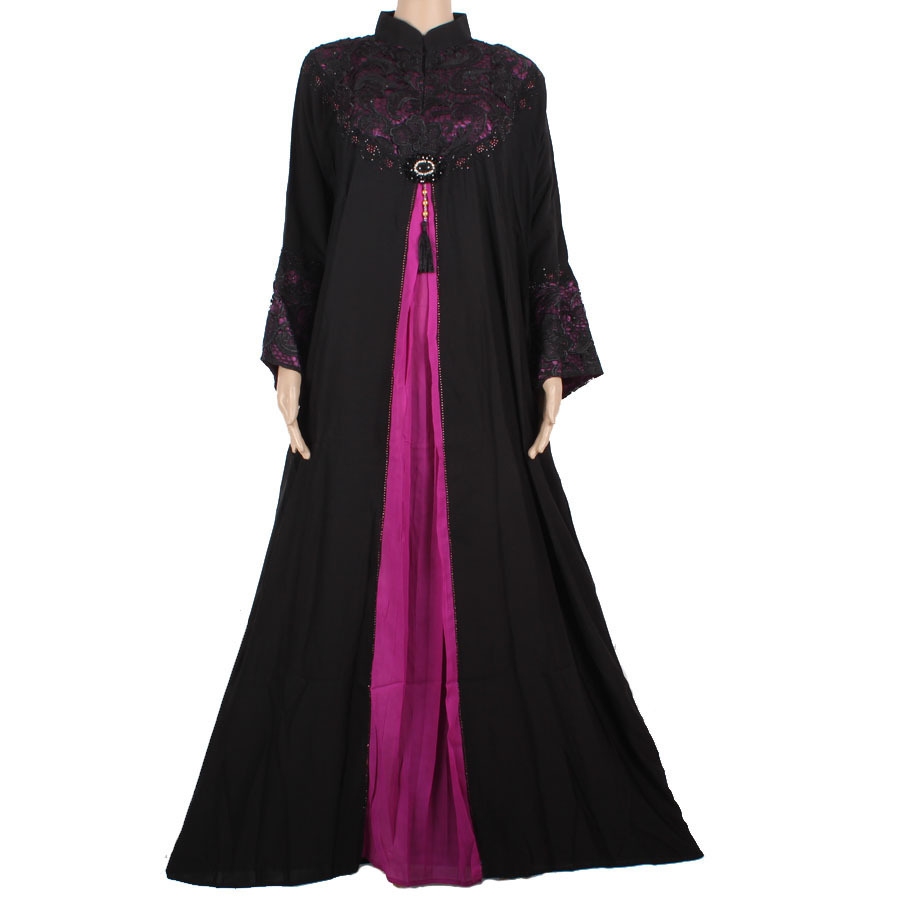 New Women39s Abaya Dubai Dress Kj Pearl Chiffon Female Muslim Clothing For