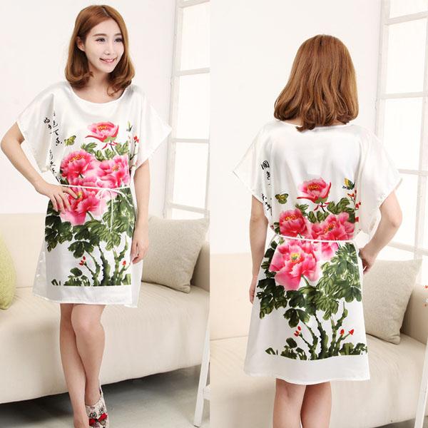 Summer women's sleepwear sleeveless o-neck print one piece short-sleeve silk sleepwear maternity nightgown plus size lounge(China (Mainland))