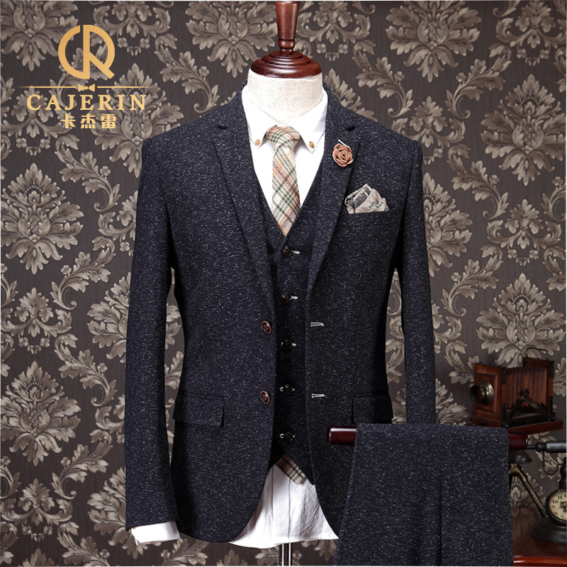 vintage thick christmas tweed suit men slim fit grey tuxedo wedding groom herren anzug terno. Black Bedroom Furniture Sets. Home Design Ideas