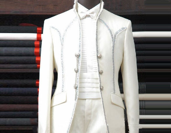 Noble White Wedding Suits For Men 2015 Satin Suit Hot Sale Luxury High Quality By Suit Factory The new Arrivals With Long Sleeve(China (Mainland))
