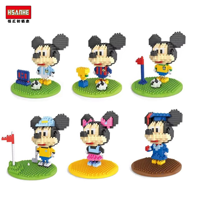 HSANHE World Cup Mickey and Minnie Diamond Building Blocks Mini Action Figure plastic educational toy Compatible with LOZ(China (Mainland))