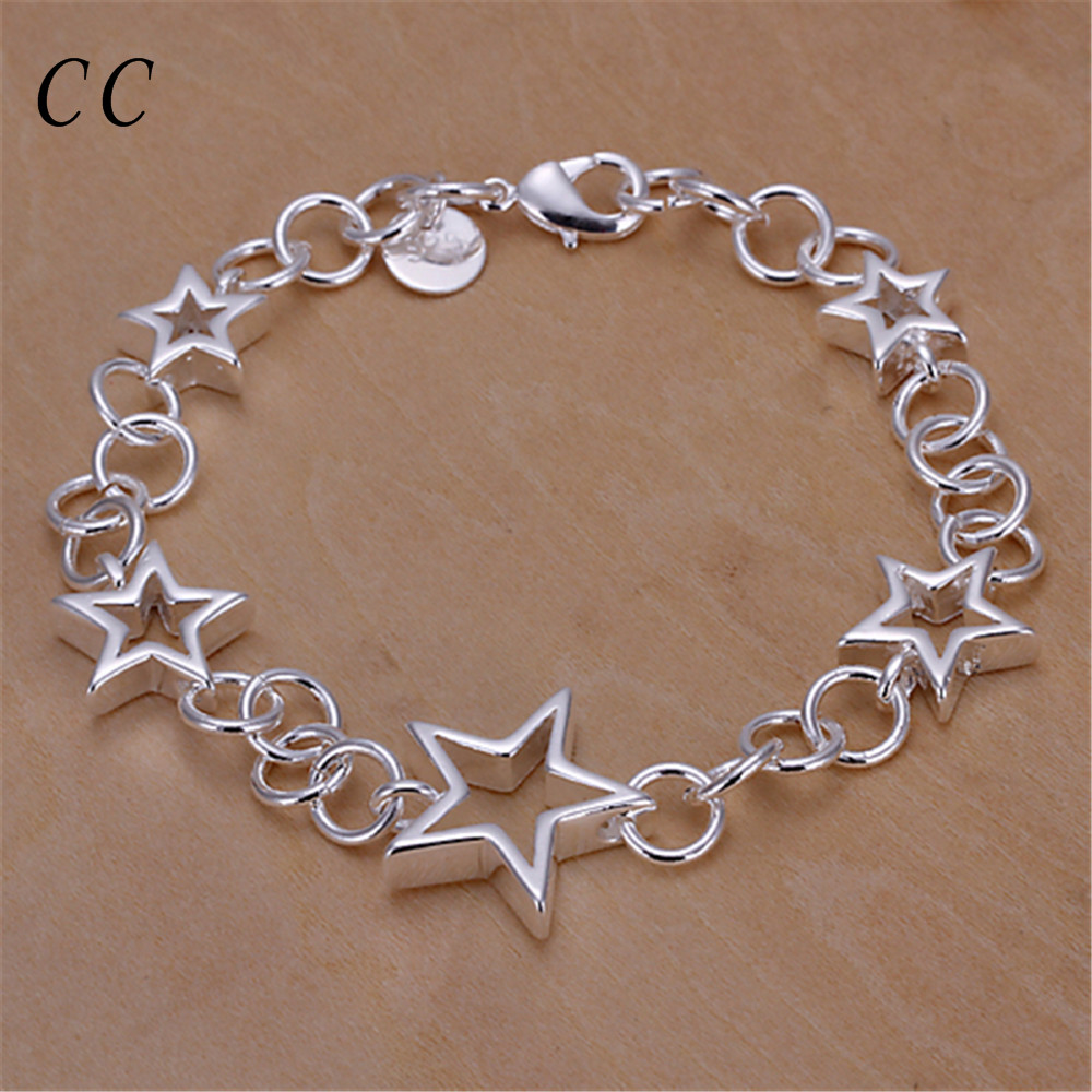 Chic jewelry gift for couple lover silver plated five hollow stars charm bracelets for women love stylish bijoux CCNE0671(China (Mainland))