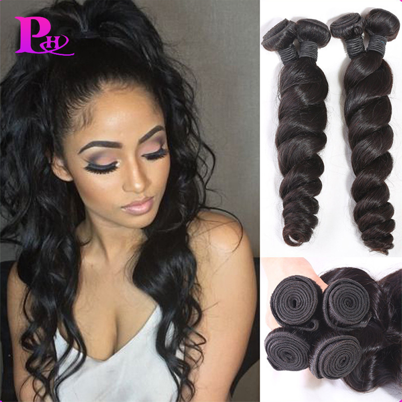 Peruvian Virgin Hair Loose Wave 100% human hair weaving Peruvian Loose Wave 7a Unprocessed Virgin Hair Puhui Hair Loose Wave