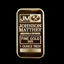 5 pcs/lot, The JM Johnson Matthey real gold plated American souvenir replica bullion bar coin(China (Mainland))