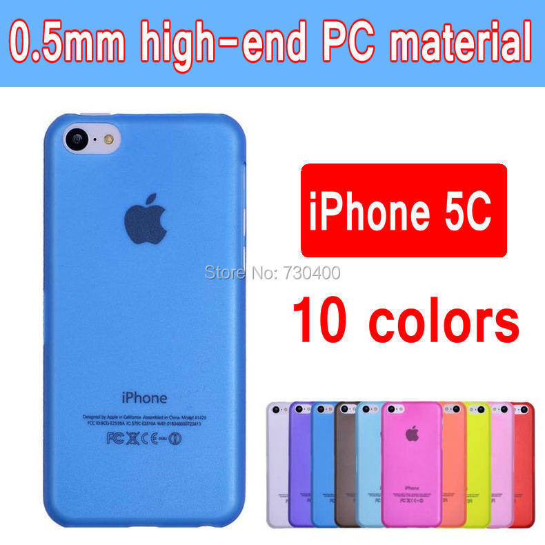 10 colors Ultra - thin 0.5 mm scrub half transparent plastic material PC Case for Apple iphone 5C cell phone outer shell(China (Mainland))
