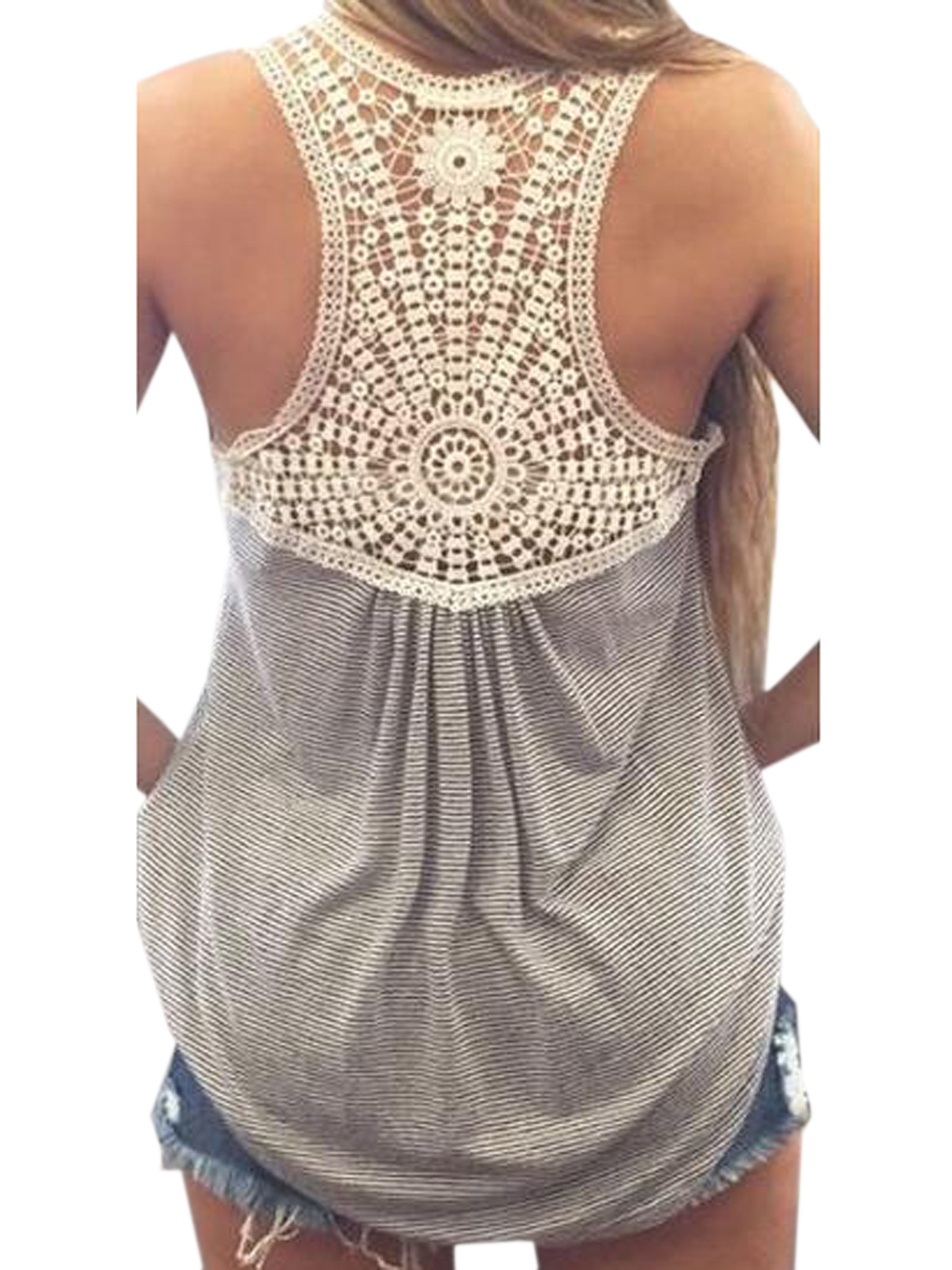 Free Crochet Patterns Women s Tank Tops : Back Crochet Lace Floral Pattern Grey Tank Top Women Vest ...
