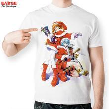 [EATGE] Creative Cute Rei Ayanami And Ray At Christmas T Shirt Funny Neon Genesis Evangelion T-shirt Men Casual White EVA Tshirt