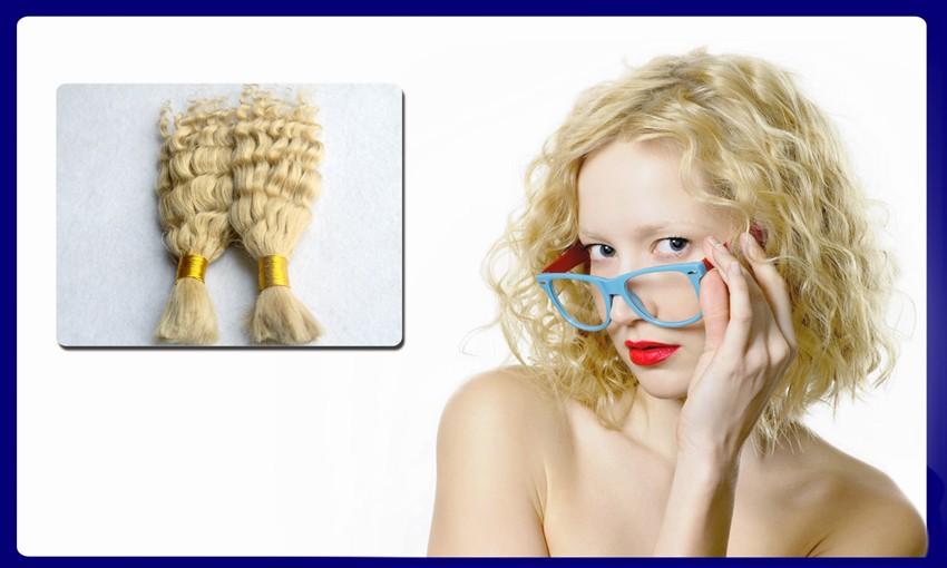 #613 Bleach Blonde Virgin Brazilian Deep Curly Bulk Hair Extensions No Weft 100g Human Braiding Hair Bulk Curly No Attachment