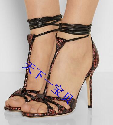 Peep Toe Gladiator Sandals Women Lace Up Desiger High Heels patchwork Women Pumps Ankle Strap party Shoes Woman Sandalias