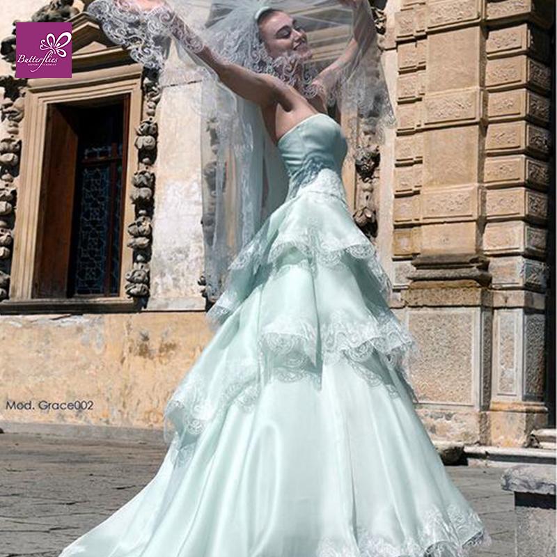 Fashion 2015 spring summer new strapless tiered long light for Light blue beach wedding dress