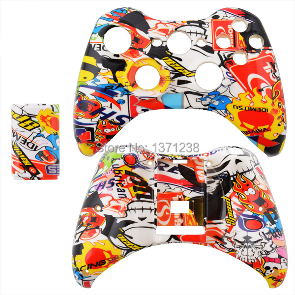 Top DIY Hydro Dipped Sticker Bomb Front n Back Shell with Battery Pack for Xbox 360 Wireless Controller(China (Mainland))