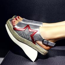 Buy Wholesale Fashion Large Size Peep Toe Brand Slingback Shoes Star Women Sandals Flats Bling Retro Straw Runway Casual Shoes 0-6 for $53.55 in AliExpress store