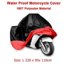 Size L 220 x 95x 110cm Motorcycle Covering Waterproof Scooter Cover UV resistant Heavy Racing Bike Indoor Outdoor Cover Red D10