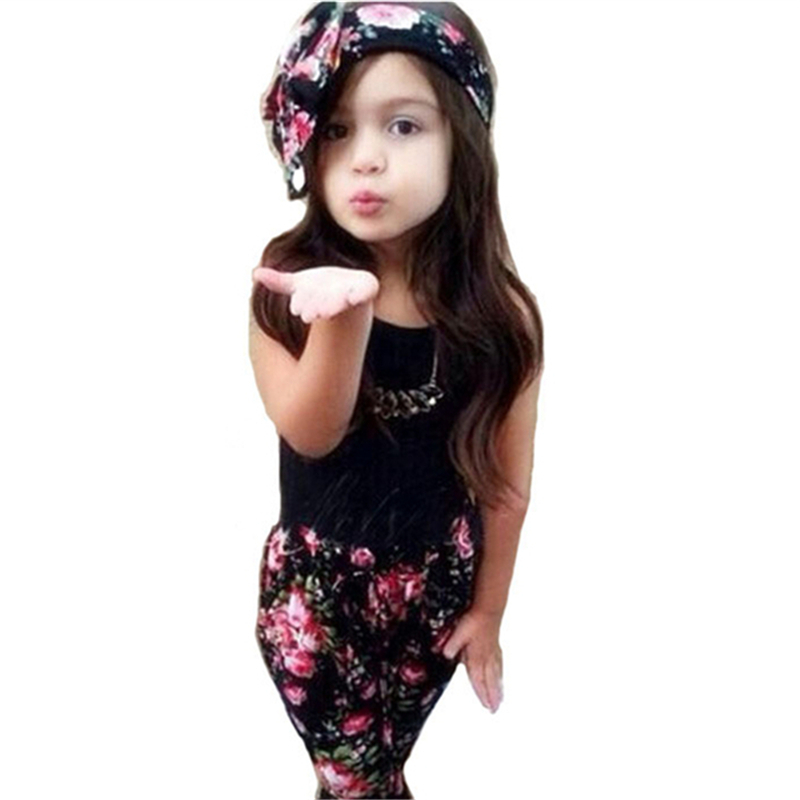 2015 New girls set head scarf + vest + pants cotton clothes summer children's set fashion baby girls clothing sport suit D4Q07(China (Mainland))