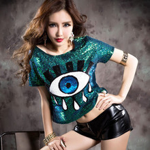 2015 Free Shipping Summer Style New Fashion Big Eyes Paillette O-neck T Shirt  Short Sequined Women SequinsT Shirt(China (Mainland))