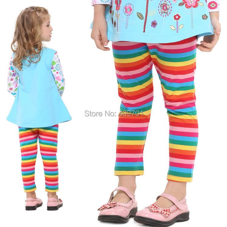 NOVA Brand Fashion Casual Girl Legging New 2014 Children Capris Pants Colorful Striped Pants Baby Girl