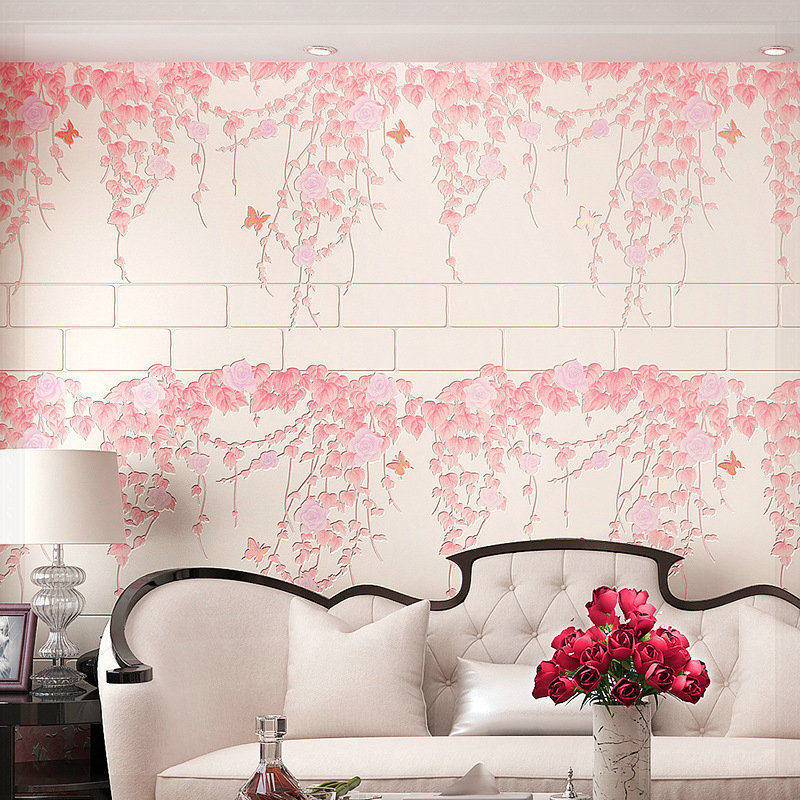 Rose Flower Butterfly Leaf Wallpaper 4 Colors Wedding Room Wall Paper TV Background Wall Covering Decoration ceiling wallpaper(China (Mainland))