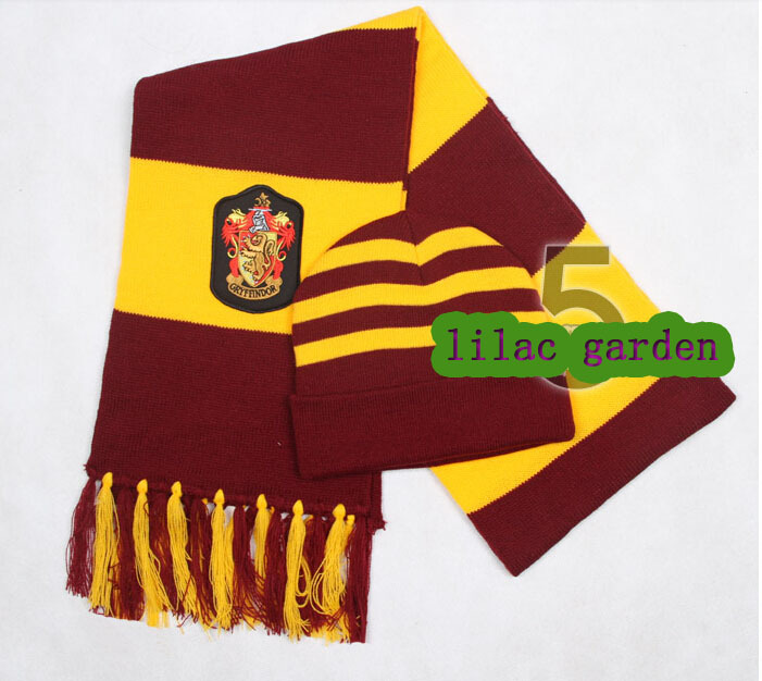 Free shipping Harry Potter Scarves Movie Fans' Favorite School Unisex Striped Gryffindor Scareve+hat Cosplay costume(China (Mainland))
