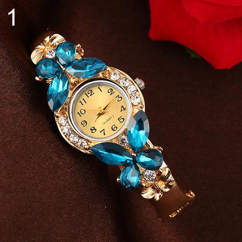 New Women Crystal Butterfly Rhinestone Dress Cuff Bracelet Quartz Bangle Wrist Watch  181 G6TN C2K5W