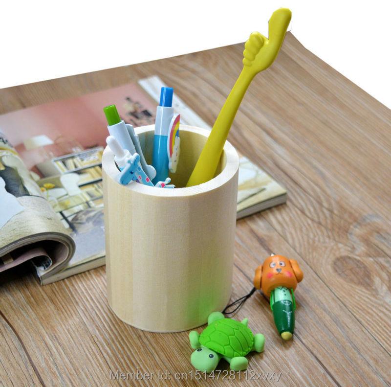 Wooden Crafts Pen Case Brush Pot DIY Wood Mud Base Art Decor Children Kid Baby Toys Pencil Desktop Storage(China (Mainland))