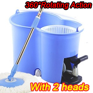 Spin Mop - Newest Compact Folding Mop Bucket System with Foot Pedal - Built In Bucket Agitator - 2 Magic 360 Microfiber(China (Mainland))