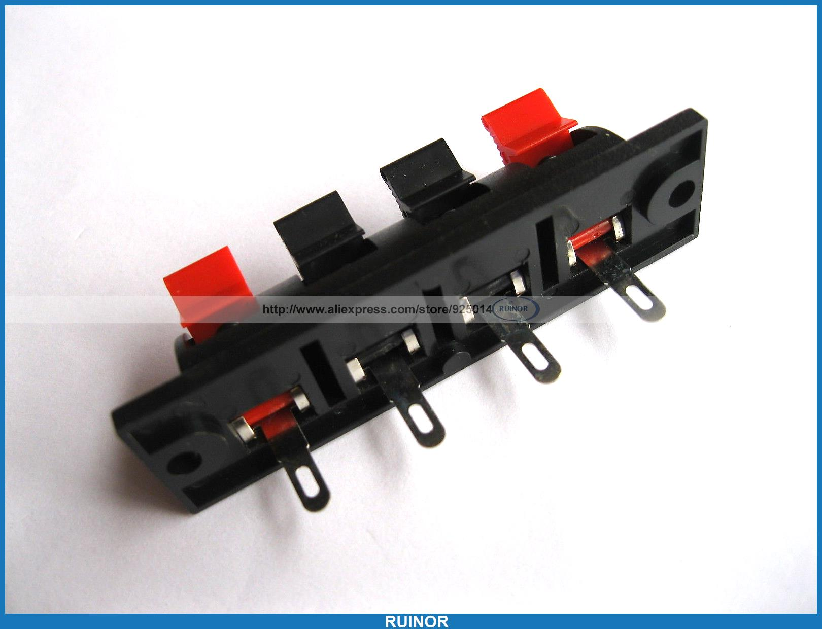 Фотография 100 Pcs WP Push Type Speaker Terminal Board Connector 64 5mmx17 6mm 4 Pin WP4 7