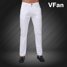 Jeans Men 2015 New Brand Fashion Solid Slim Fit White Blue Black Candy Colors Plus Size Mid Straight Denim Pants F1241(China (Mainland))