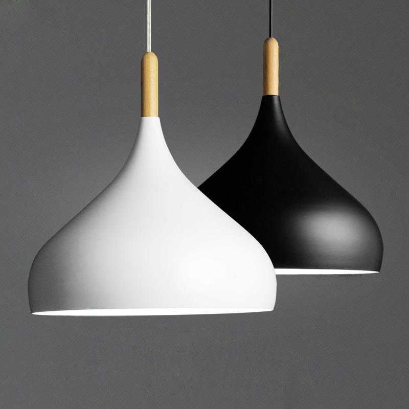 Dia 32cm Nordic white &amp; black lampshade luminaire pendant lights modern pendant lamp for restaurant bar shop lighting fixture <br><br>Aliexpress