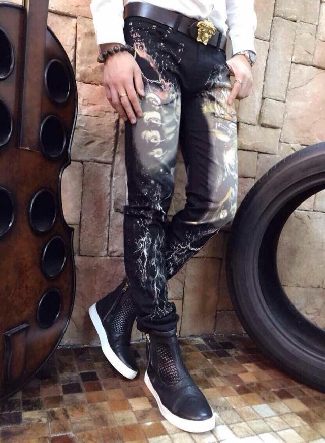 Male print jeans autumn and winter slim straight personality tiger colored drawing flower trousers maleОдежда и ак�е��уары<br><br><br>Aliexpress