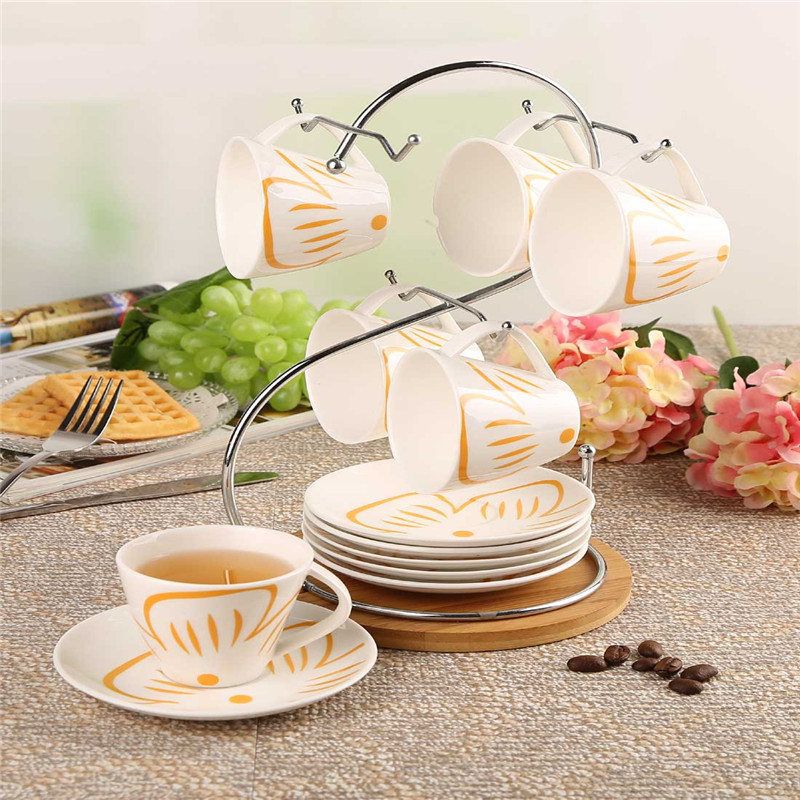A creative gifts Qiou style suits elegant high temperature ceramic coffee cup coffee cup suit
